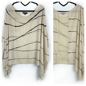Aakaa Cream Black Striped Lace Poncho Top Size S